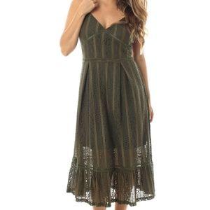 Dresses & Skirts - MIDI OLIVE GREEN SHEER DRESS|BOHO OLIVE MIDI DRESS